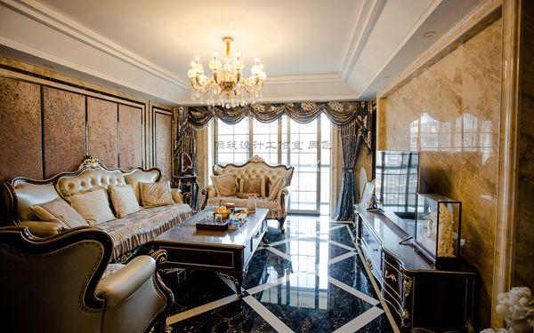 欧式古典复式楼客厅沙发背景墙装修实景图