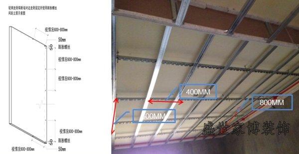 3,吊顶侧面必须采用竖龙骨,底面采用副龙骨连接;增强木龙骨与轻钢龙骨